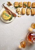 Savoury rosemary scones with chicken liver paté