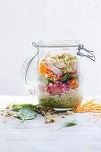 Jar salad with asian dressing