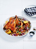 Upside-down roast chicken