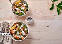 Lentil salad with salmon and yoghurt dressing