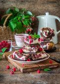 Cheesecake brownie with raspberries