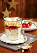 Risotto mix with pine nuts and dried tomatoes in a glass
