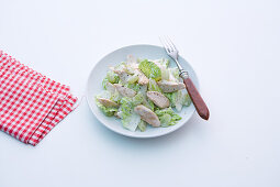 Chinese cabbage and chicken salad with grapes
