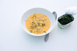 Fish soup with salmon fillets and turmeric