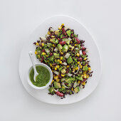 Venere rice salad with kidney beans, avocado and sweetcorn