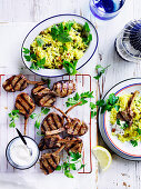 Pistachio Pilaf with Char-Grilled Lamb