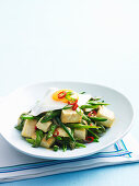 Stir-Fried Asparagus with Green Beans, Egg and Tofu