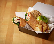 Turkey Wrap Box Lunch with Apple and Cookie