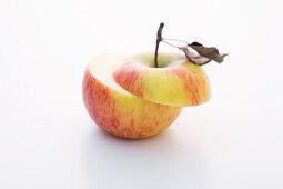 A Topaz apple, halved