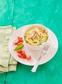 Ricotta flan with lemon verbena and pinenuts