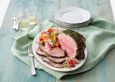 Roast beef with tuna and vegetables marinated in oil
