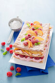 Peach and raspberry millefeuille