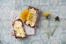 Dandelion butter on thin bread