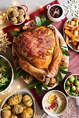 A Christmas turkey with bacon