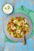Biryani with shrimps (rice dish, Asia)