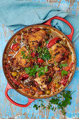 Chicken with olives and chilies (Spain)