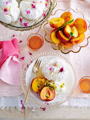 Pavlova Bar with peaches