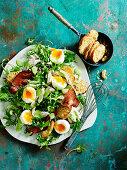 Kale Caesar Salad with eggs