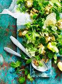 Pea, Tarragon and Prawn Fritter Salad