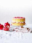 Pomegranate and rose petal sponge cake