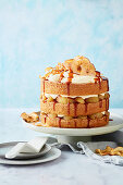 Toffee apple and cinnamon sponge cake