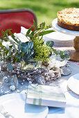 Christmas tisck decoration on a garden table