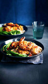 Charred oyster sauce prawns with rice noodles