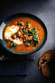 Spicy lentil soup with cabbage