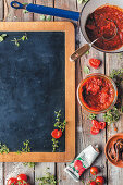 Pizza sauce and a blackboard