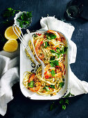 Tagliatelle and prawns