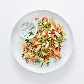 Chicken with herb tabbouleh and yoghurt sauce