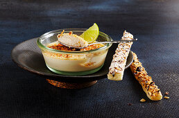 Creme brulee with green tea, lime and hazelnut bars