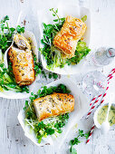 Pork Sausage Rolls with Apple and  Celery Salad