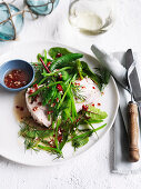 Herb and Pea Salad with Poached Fish Fillets