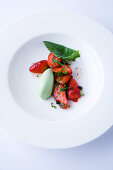 Marinated strawberries with green pepper and sorrel rice
