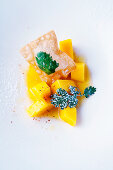 Diced mango in orange and mango sauce with a coriander pastry turnover