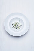 Somen noodles tossed in cauliflower cream with caviar