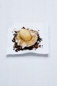 Mascarpone ice cream with kataifi pastry, Baileys, crème anglaise and truffles