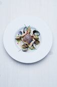 Bass with clams and a chilli and chive sauce