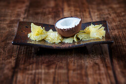 Pineapple carpaccio with iced coconut