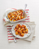 Gnocchi bake with a saffron and meat sauce
