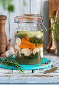 Fermented mixed vegetables in brine
