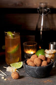 Rum and Ginger Chocolate Truffles with a Dark and Stormy Cocktail