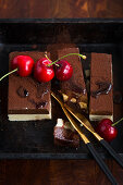 Nougat slices garnished with cherries