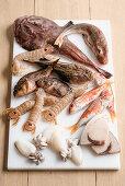 Fresh fish and shellfish for fish soup