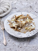 Blecs (buckwheat pasta with butter, montasio and smoked ricotta, Italy)