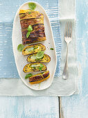 Frittata roll with aubergines and cheese