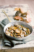 Fried porcini mushrooms with caramelised shallots