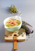 Potato soup with shrimps and thyme