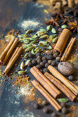 Mix of various spices for making pumpkin pie spice mix
